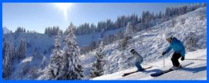 2 people skiing, long island car service