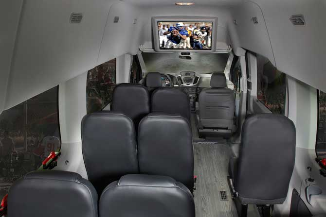 interior of luxury van with TV, New York limo service