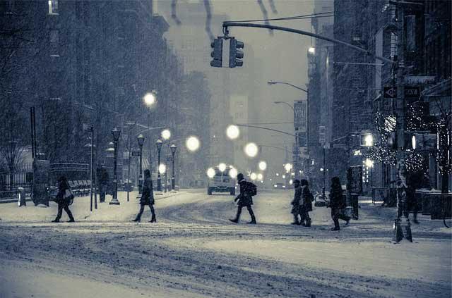 snowy city landscape, Long Island car service